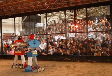 The robots face off